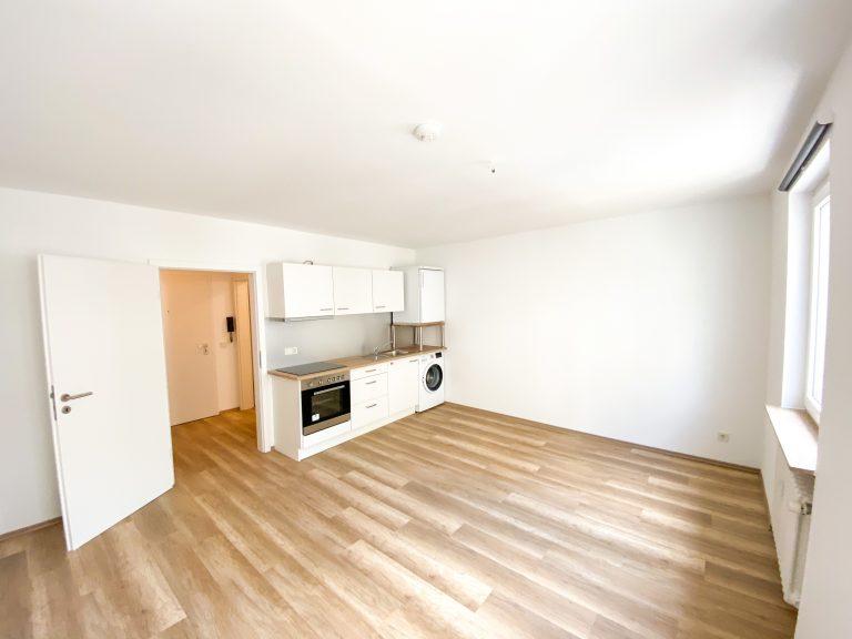 Geräumiger Wohnbereich mit integrierter Einbauküche